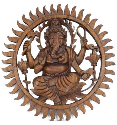 Décor mural Ganesh en bois massif sculpté main 30cm
