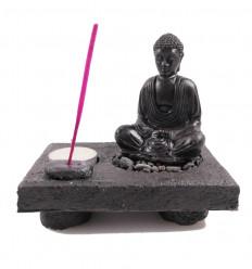Jardin zen, porte encens et bougeoir Bouddha. En résine artisanale blanche.