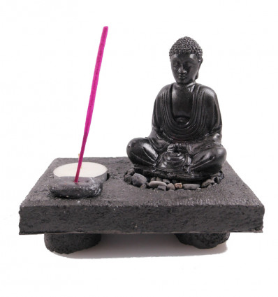 Zen garden, door incense and candle holder Buddha. Resin craft white.