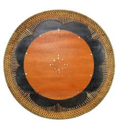 Set de table dessous de plat en bois. Décoration de table ethnique.