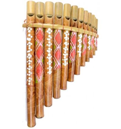 Flauto pan di bambù da 12 becchi, dipinto a mano.
