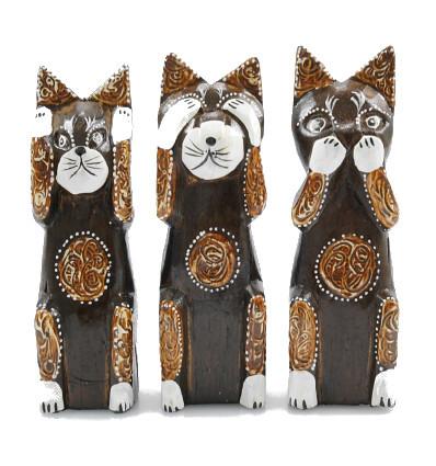 """Il 3 gatti """"segreto della felicità"""". Lotto di 3 Statue in legno, h20cm"""