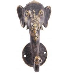 Patère murale Eléphant 1 crochet en bronze massif. Création artisanale.