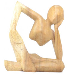 "Statuette abstract ""Thinker"" h20cm - solid Wood carved hand finish natural"