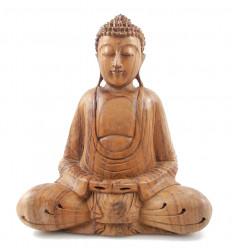 Statua di Buddha seduto nella posizione del loto h30cm Legno intagliato a mano