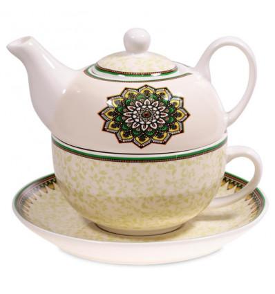 Ensemble pour le thé - Théière et tasse en porcelaine. Mandala vert.