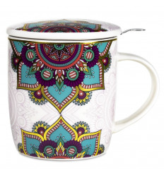 Mug with tea infuser and porcelain lid - Mandala Turquoise