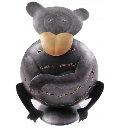 Supporto di candela di scimmia in ferro battuto. Fatti a mano.