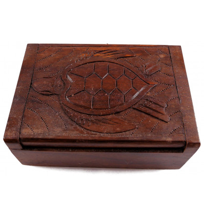 Wooden gift box, jewel box jewelry sculpture turtle. Craft.