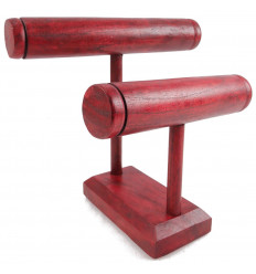 Display for watches and bracelets, wooden jewelry holder with 2 red rushes.