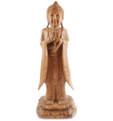 Large statue of the standing Buddha h60cm solid wood plain carved hand