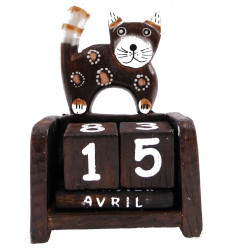 Perpetual calendar cat in wood. Crafts of Bali. Hand painted.