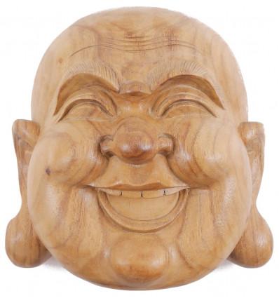 Maschera del Buddha all'interno in legno esotico lordo H20cm