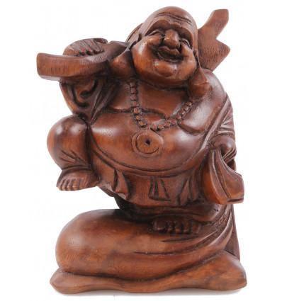 Statue Bouddha chinois voyageur H20cm bois exotique sculpté