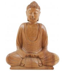 Statuette Bouddha Méditation en bois brut massif.