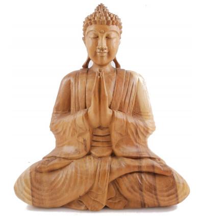 Ampio soggiorno statua di Buddha in legno di pianura intagliato a mano solida h40cm