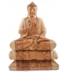 Statue de Bouddha assis sur lotus. Bois de suar naturel. - 40cm