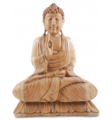 Statue of Buddha sitting on lotus h40cm Wooden carved hand