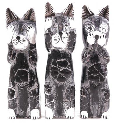 """Les 3 chats """"secret du bonheur"""". Lot de 3 Statuettes en bois."""