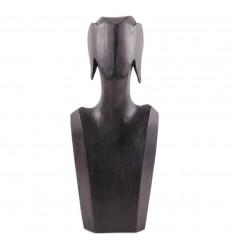 Busto Display collane e orecchini in legno massello nero