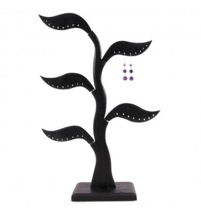 Albero di orecchini in legno massello nero