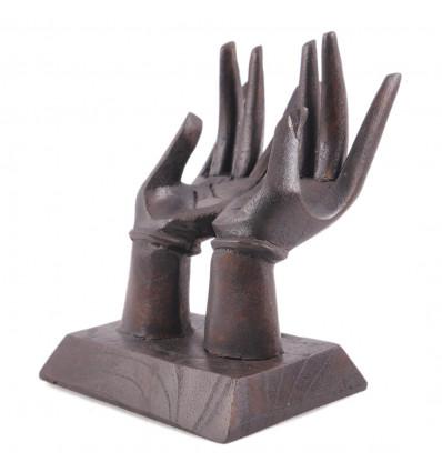 Le mani porta-anelli / schede di Visualizzazione. In legno massello tinta marrone