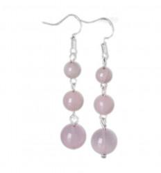 Earrings hanging 3 balls in Rose Quartz - free Shipping !!!