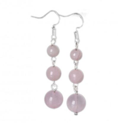 Boucles d'oreilles pendantes 3 boules en Quartz Rose - Livraison gratuite !!!