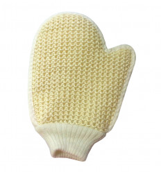 Glove massage scrub in vegetable fiber and cotton, double face.