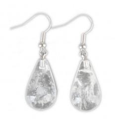 Boucles d'oreilles forme goutte en cristal de roche, crochet plaqué argent.