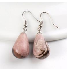 Shape earrings drop rose quartz, hook, plated silver.