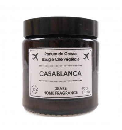 """Scented candle, vegetable wax """"Casablanca,"""" Musk amber spices, Drake."""
