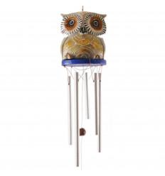 Carillon di vento mestiere. Sattuette gufo in legno e doratura intagliato a mano