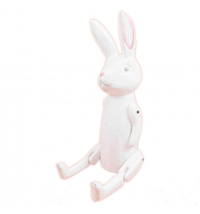 Marionette puppet jointed white Rabbit in the woods. Decoration child.