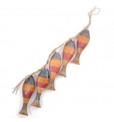 Ghirlanda decorativa pesce di legno colorato sguardo angosciato, piccolo prezzo.