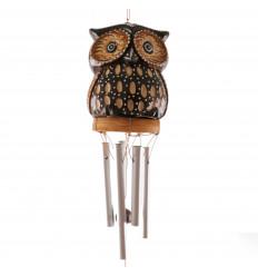 Carillon à vent artisanal. Sattuette hibou bois sculpté et peint main