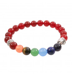 Bracelet 7 chakras in red Agate and 7-precious stones.