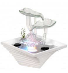 Fontaine d'intérieur Fleur en verre et céramique, style zen nature.