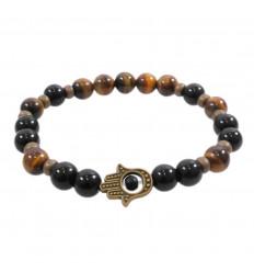 Bracelet Hamsa Onyx and tiger Eye natural