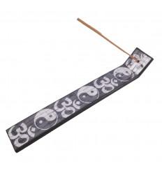 Porte-encens Yin Yang Ôm (Aum), mosaïque de verre. Pour bâtons.