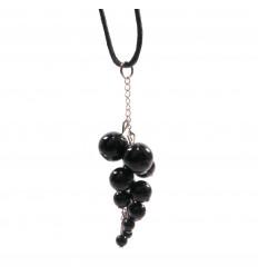 Collier grappe Obsidienne noire naturelle, pendentif pierres roulées.