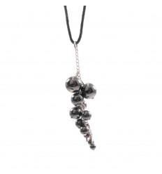 Collier grappe Hématite naturelle Extra, pendentif pierres roulées.