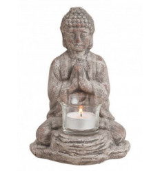 Candle holder Buddha statue in ceramic grey, Decoration Zen.