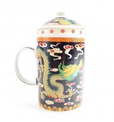 Mug infuseur à thé en porcelaine motif Dragon Chinois. 3-en-1 pratique