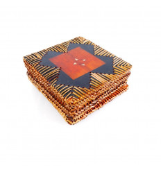 Coasters for drinks wooden, rattan and mother-of-pearl craft. Set of 6, cheap.