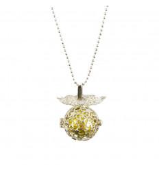 Collier bola de grossesse étoilé avec ailes d'ange en métal argenté