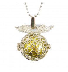 Collier bola de grossesse étoilé avec ailes d'ange en métal argenté zoom