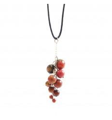 Collier grappe Rhodonite naturelle Extra, pendentif pierres roulées.