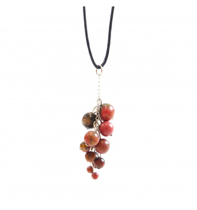 Hematite necklace AAA - pendant stone rolled + cord