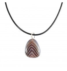 Collier Agate Botswana naturelle Extra, pendentif pierres roulées.